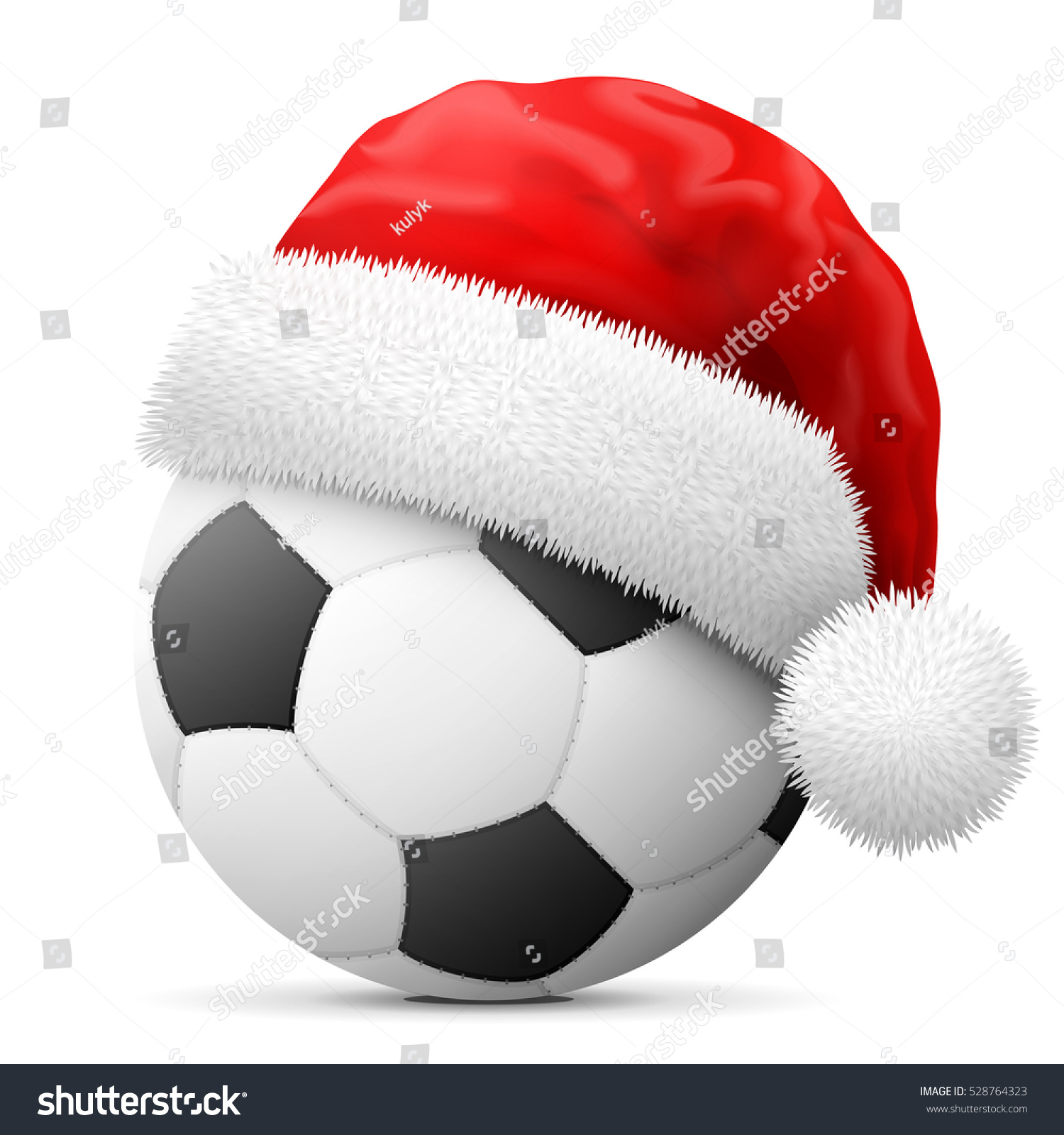 soccer ball red santa claus hat stock vector 528764323