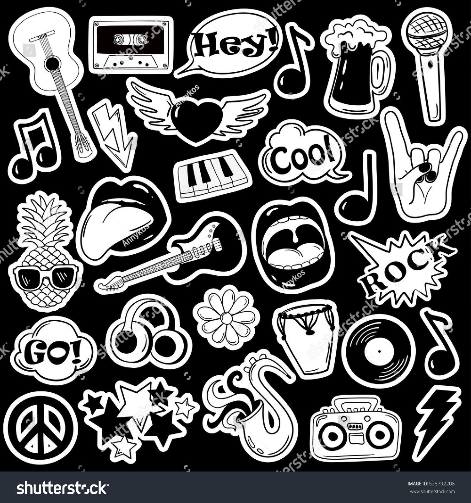 Black and white fun set of music stickers icons emoji pins or patches