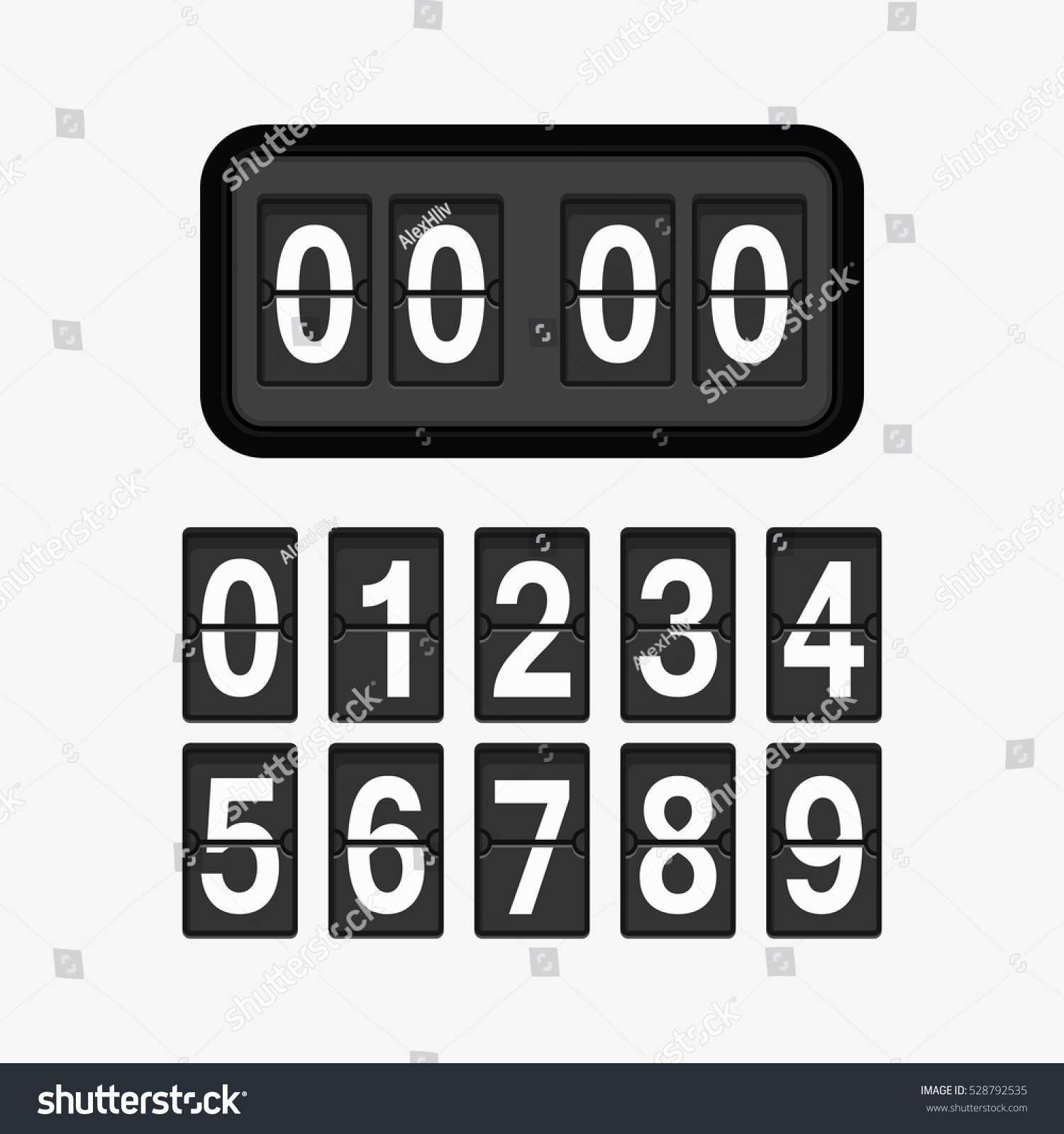 Analog Flip Clock Counter Retro Design Stock Vector HD (Royalty Free ...