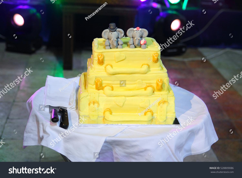 Unusual Wedding Cake Elephants Sitting On Stock Photo (Edit Now ...