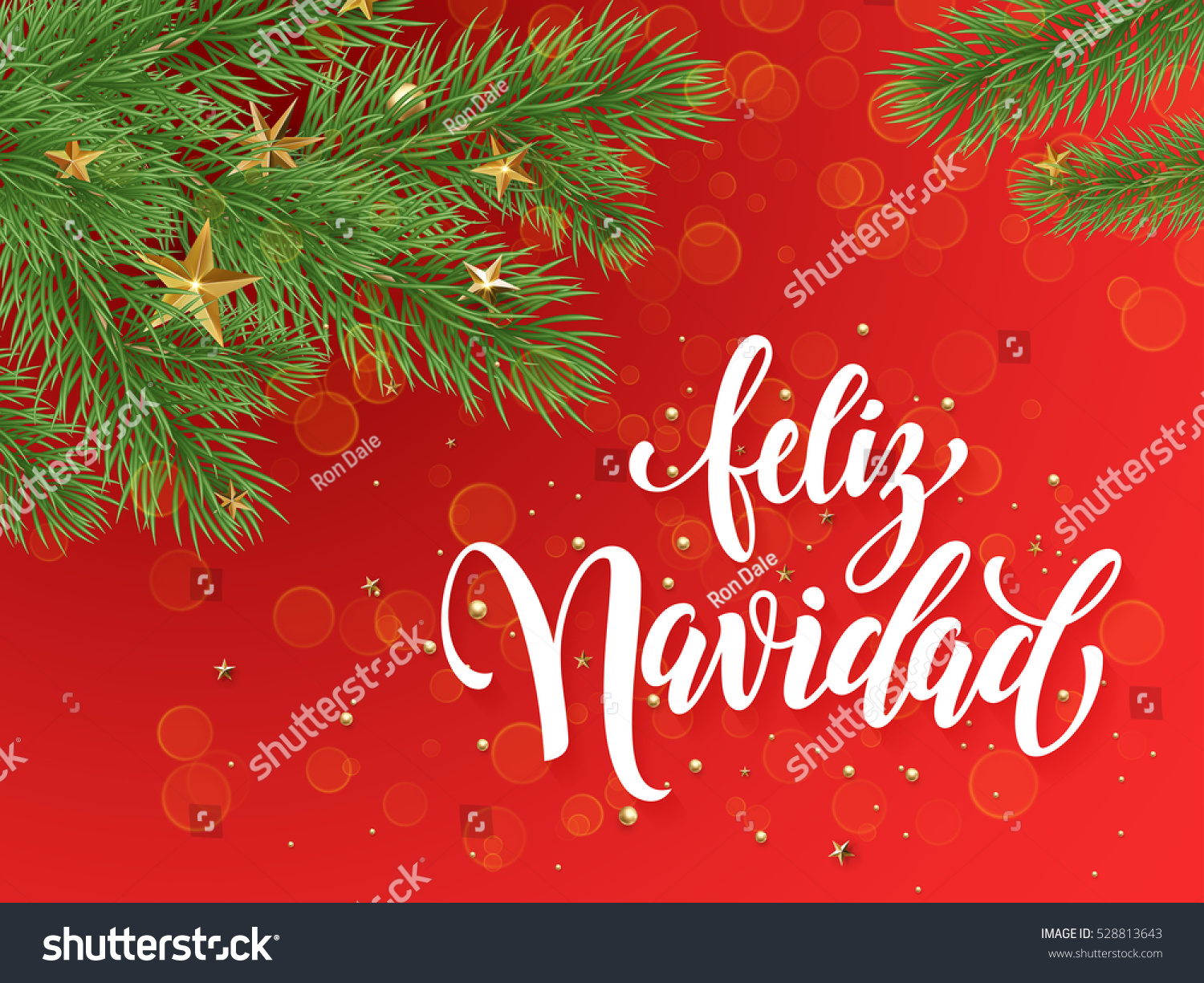 spanish merry christmas feliz navidad text greeting calligraphy lettering decorative red background with golden christmas