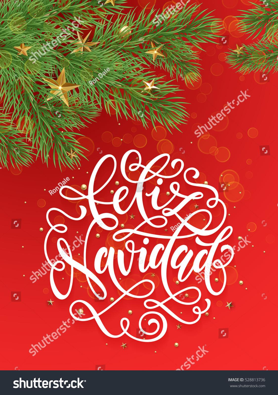 Spanish Merry Christmas Feliz Navidad background decoration ...