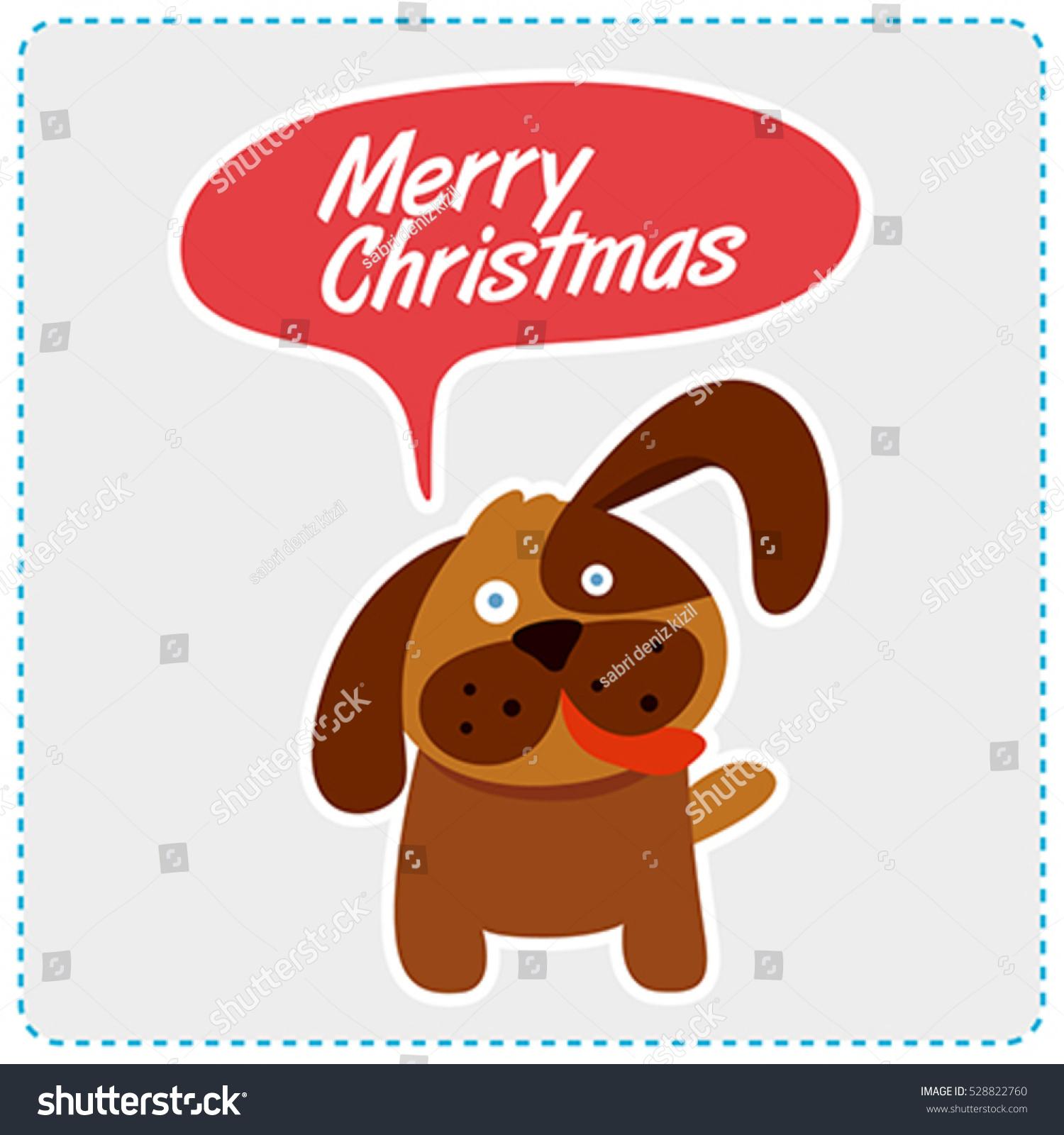 Cute Dog Christmas Message Vector Illustration Stock Vector Royalty