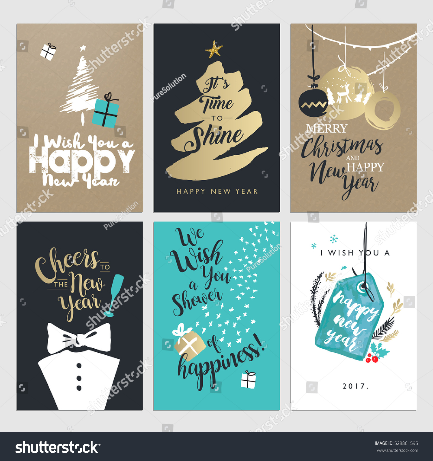 New year christmas greeting cards collection stock vector royalty new year and christmas greeting cards collection flat design vector illustration concepts for greeting cards m4hsunfo