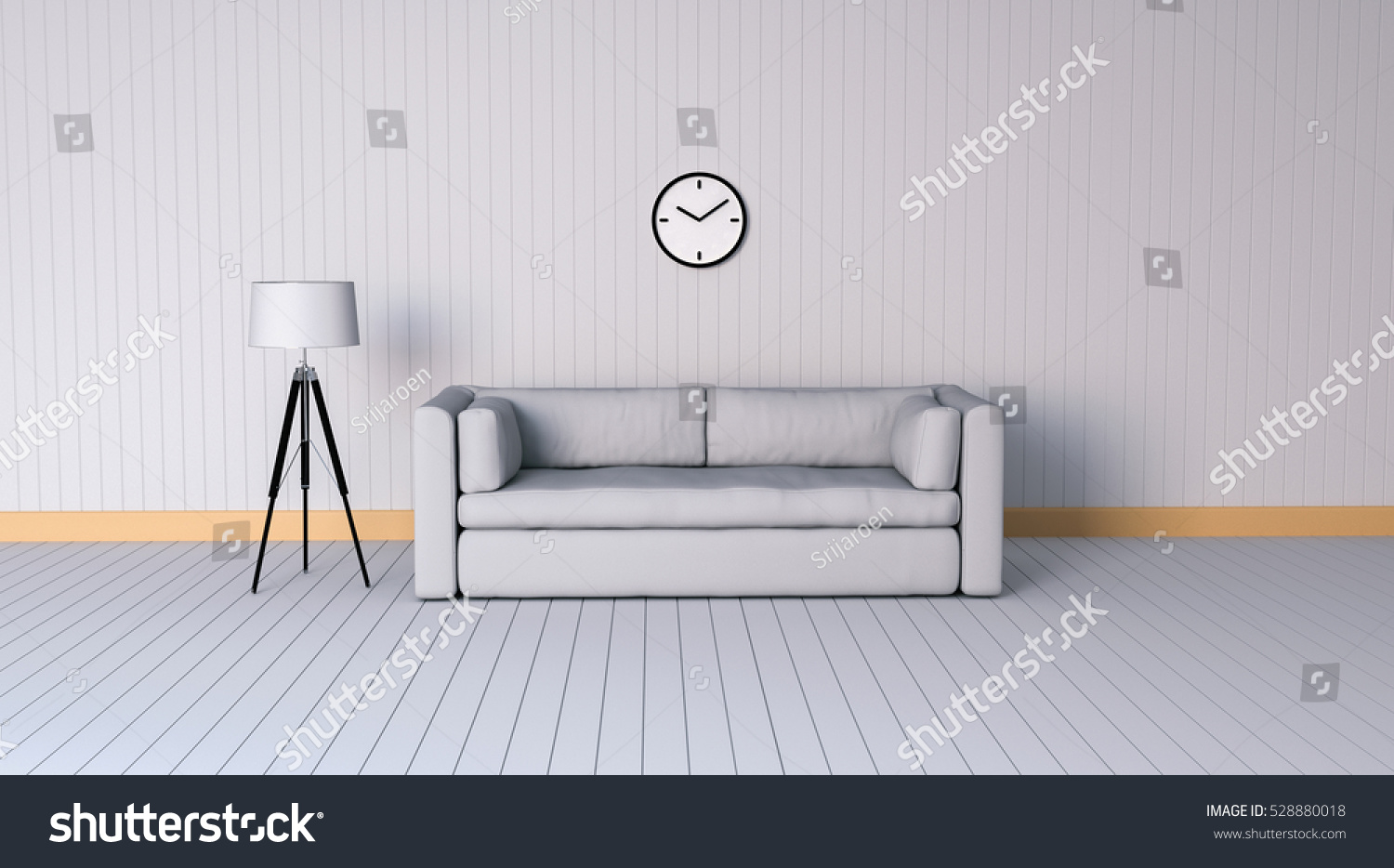 Minimalist Living Room With Leather Sofa And Floor Lamp   3d Rendering | EZ  Canvas