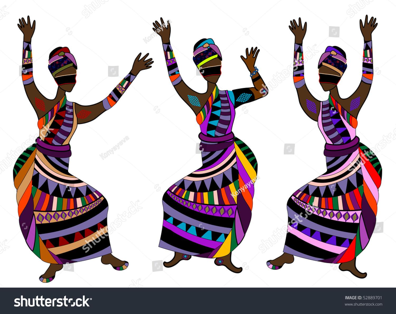 Women Ethnic Style Dance Celebration Dance Stock Vector 52889701 ...