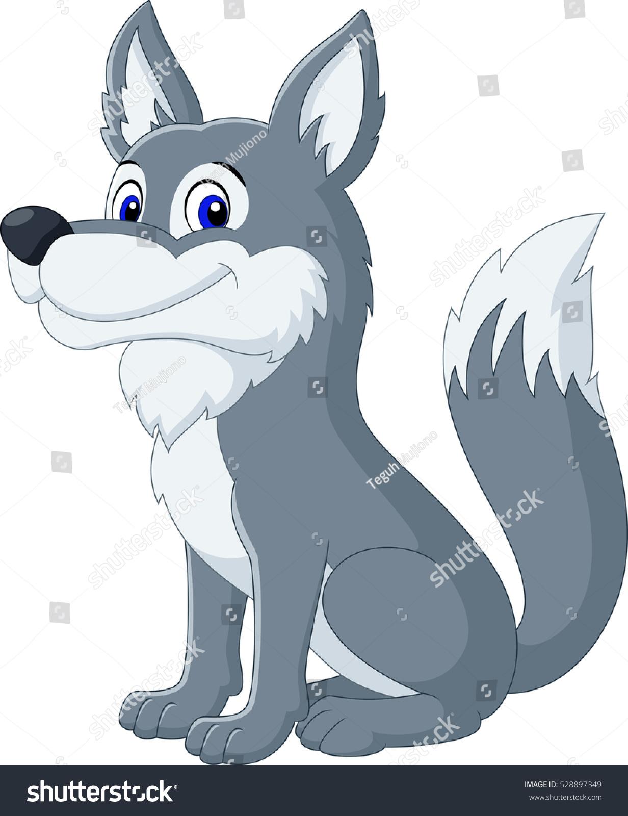 Cute Wolf Cartoon Stockillustration 528897349 Shutterstock