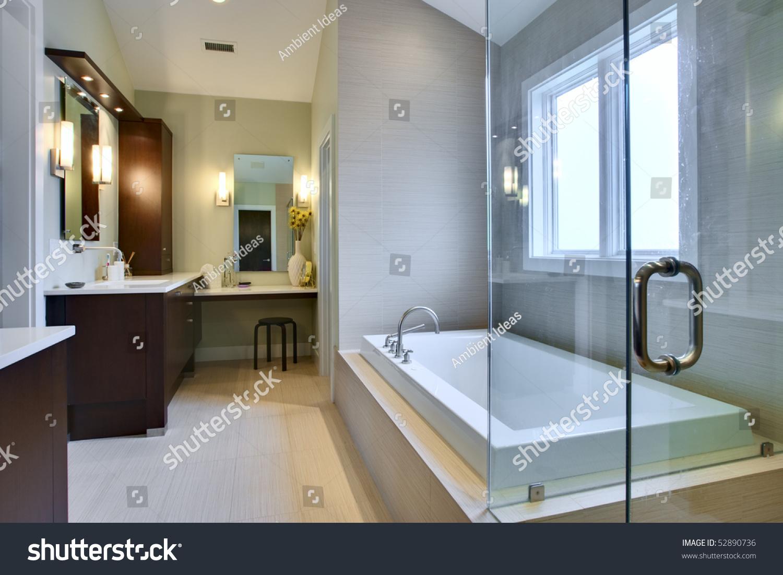 Luxury Master Bath Glass Shower Large Stock Photo (Edit Now ...