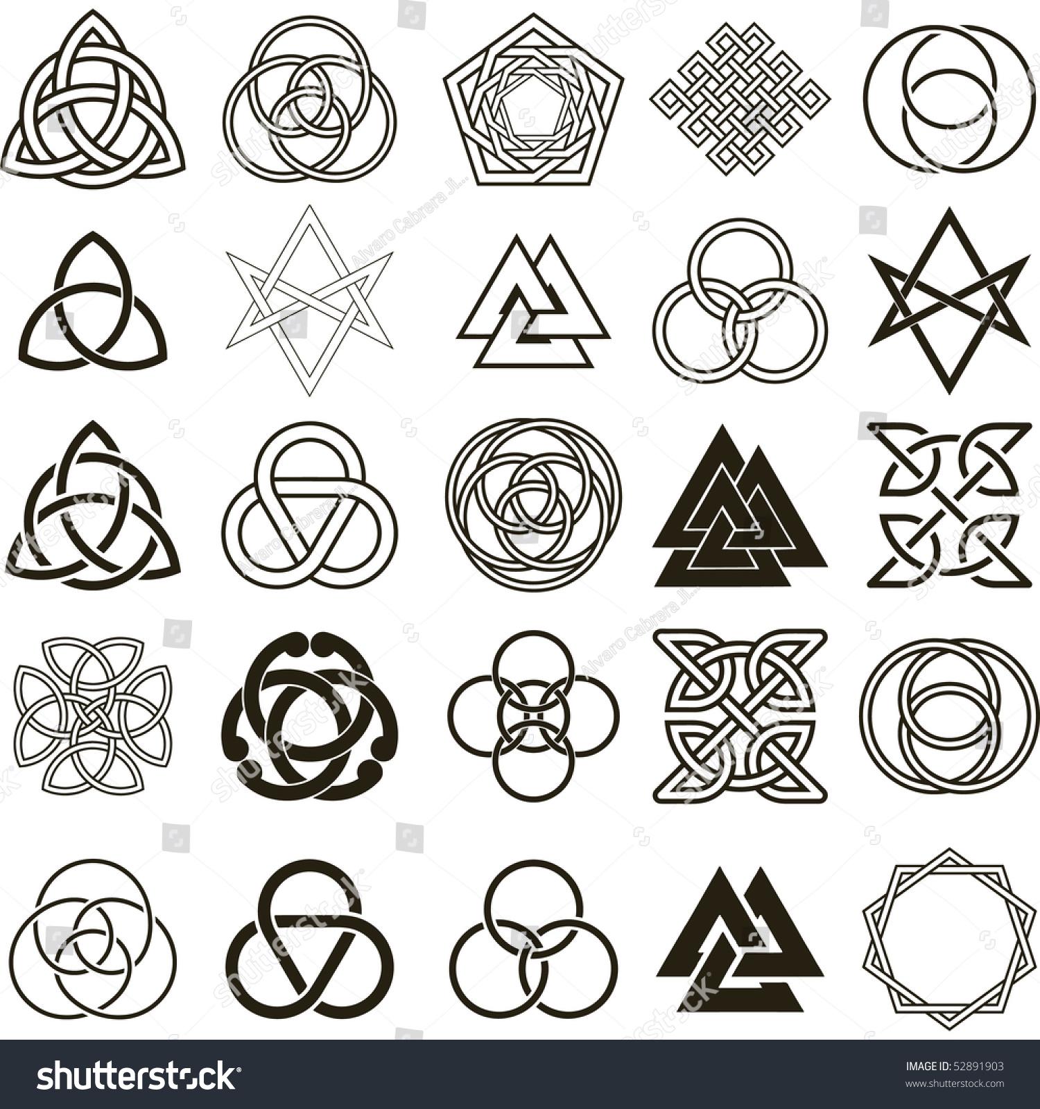 Set Symbols Icons Vector Tattoo Design Stock Vector