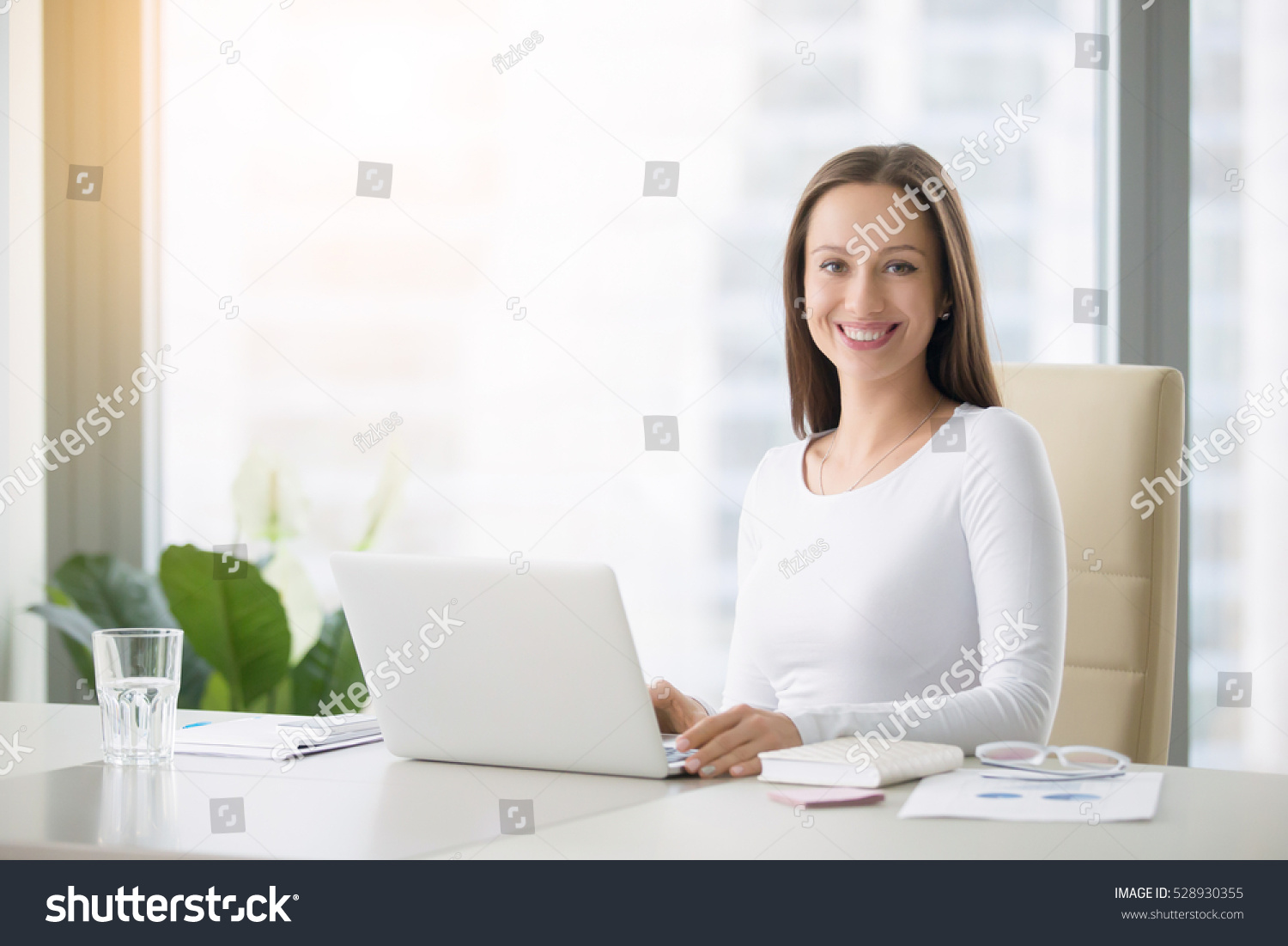 Young Smiling Female Receptionist Modern Office Stock ...