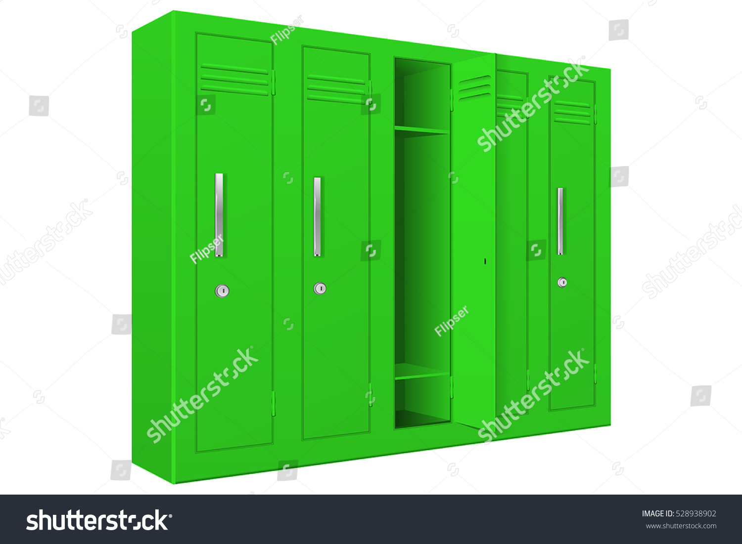 Green School Lockers With Open Door Vector Illustration Isolated On White Background