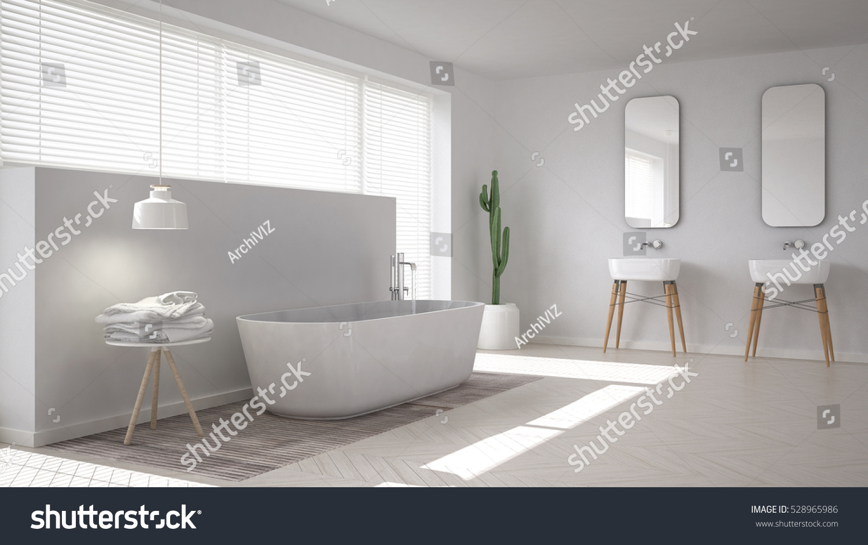 Scandinavian Bathroom, White Minimalistic Interior Design, 3d Illustration