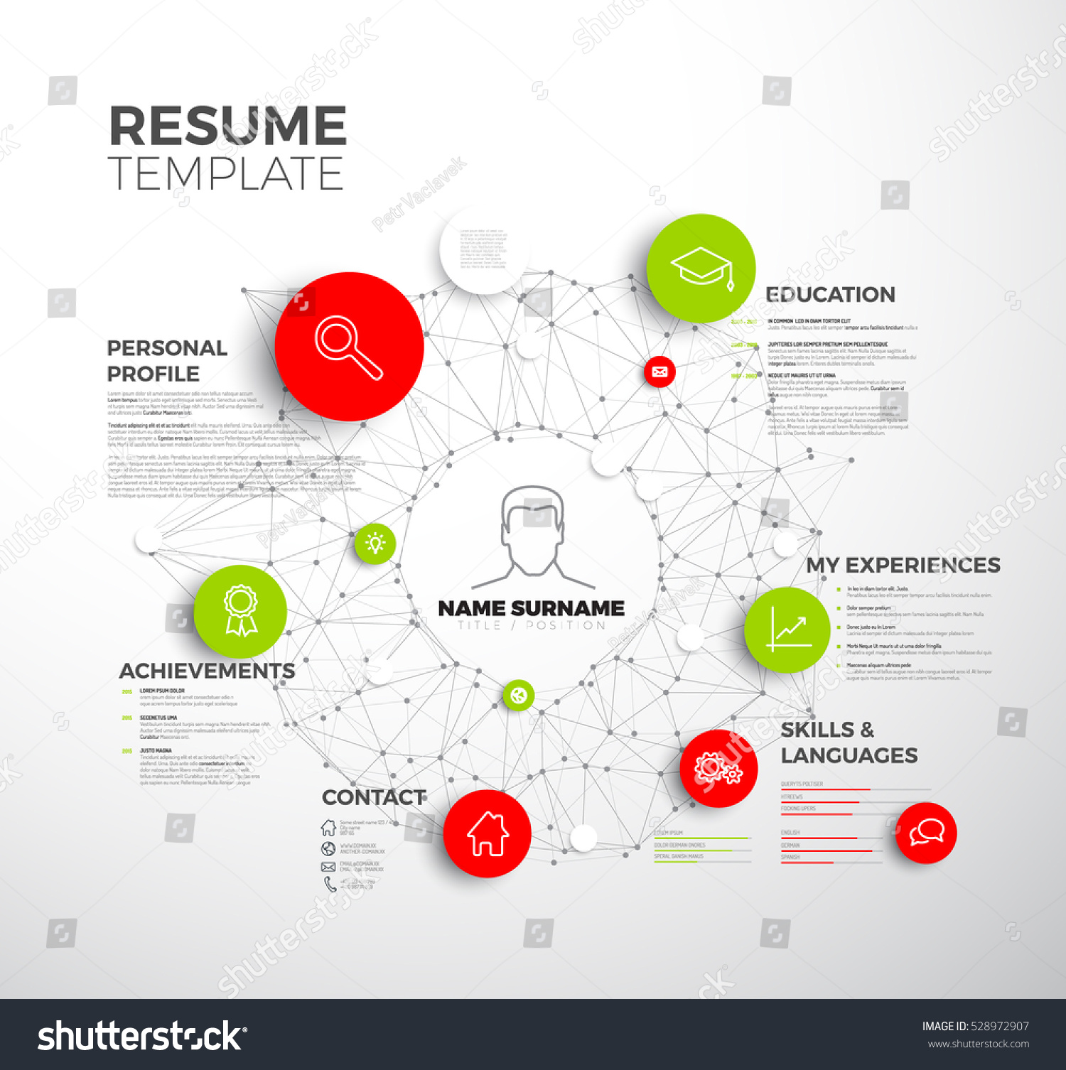 vector original minimalist cv resume template stock vector 528972907