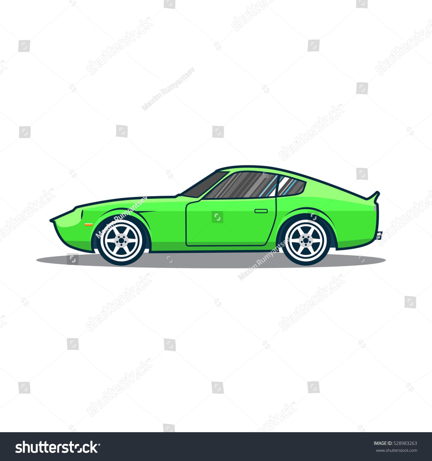 Vector Old Japan Sport Car Green Stock Vector (2018) 528983263 ...