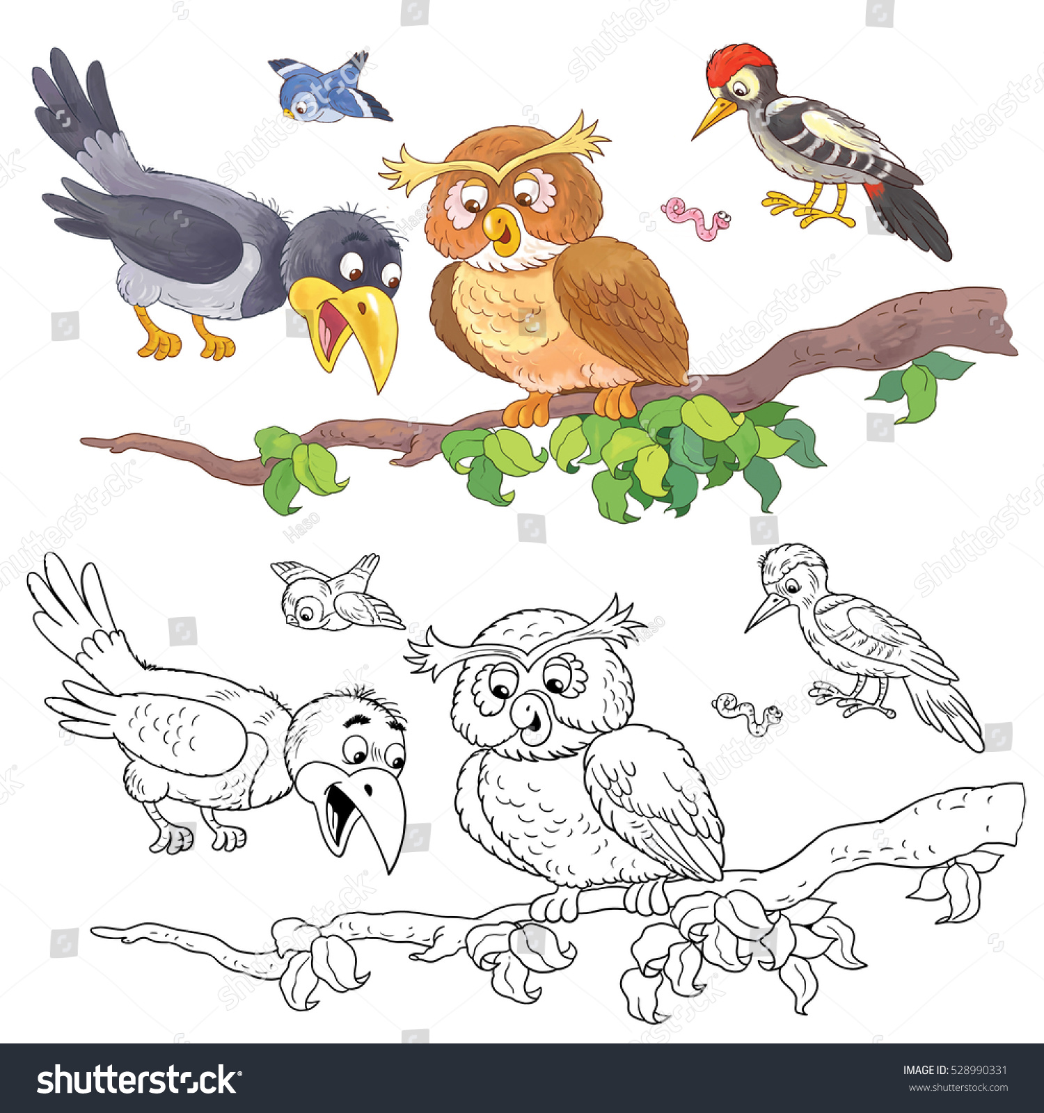 Cute Woodland Animals Forest Birds Crow Owl Woodpecker And Sparrow Coloring