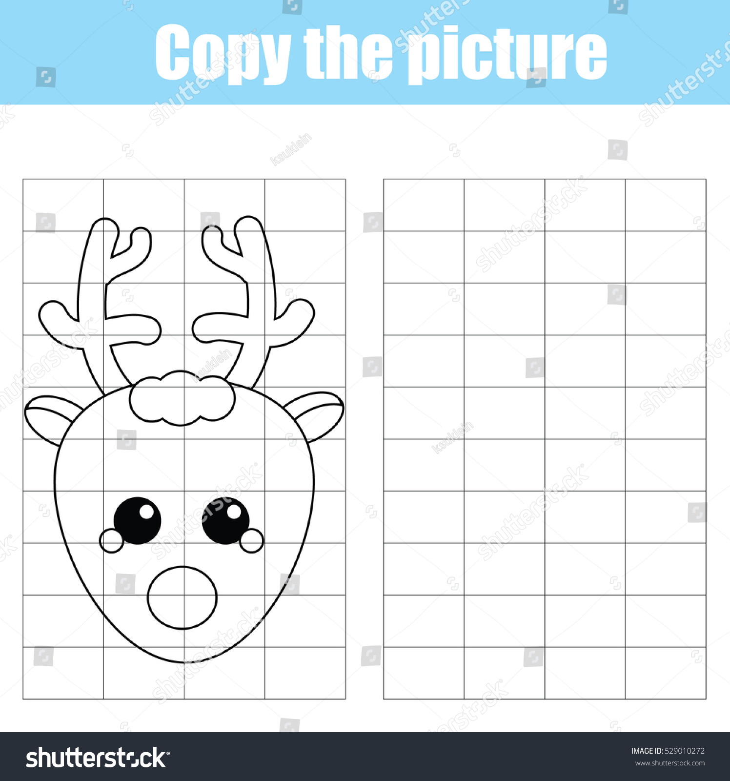 Copy Picture Using Grid Children Educational Stock Illustration