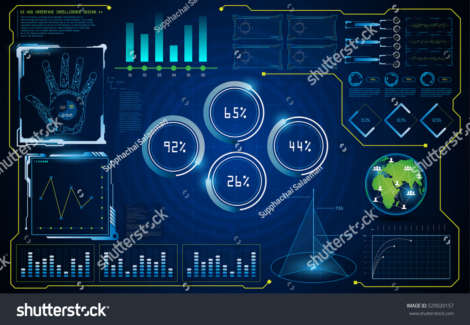 abstract hud ui interface virtual screen stock vector