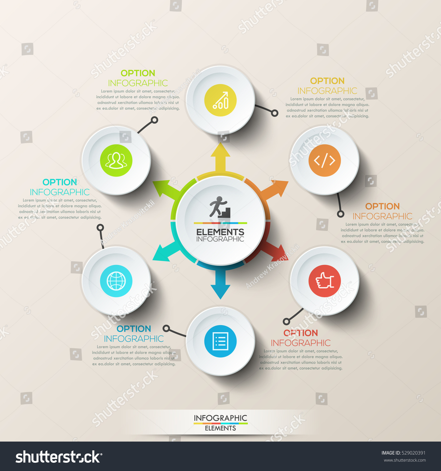 Modern Infographic Design Template Round Diagram Stock ...