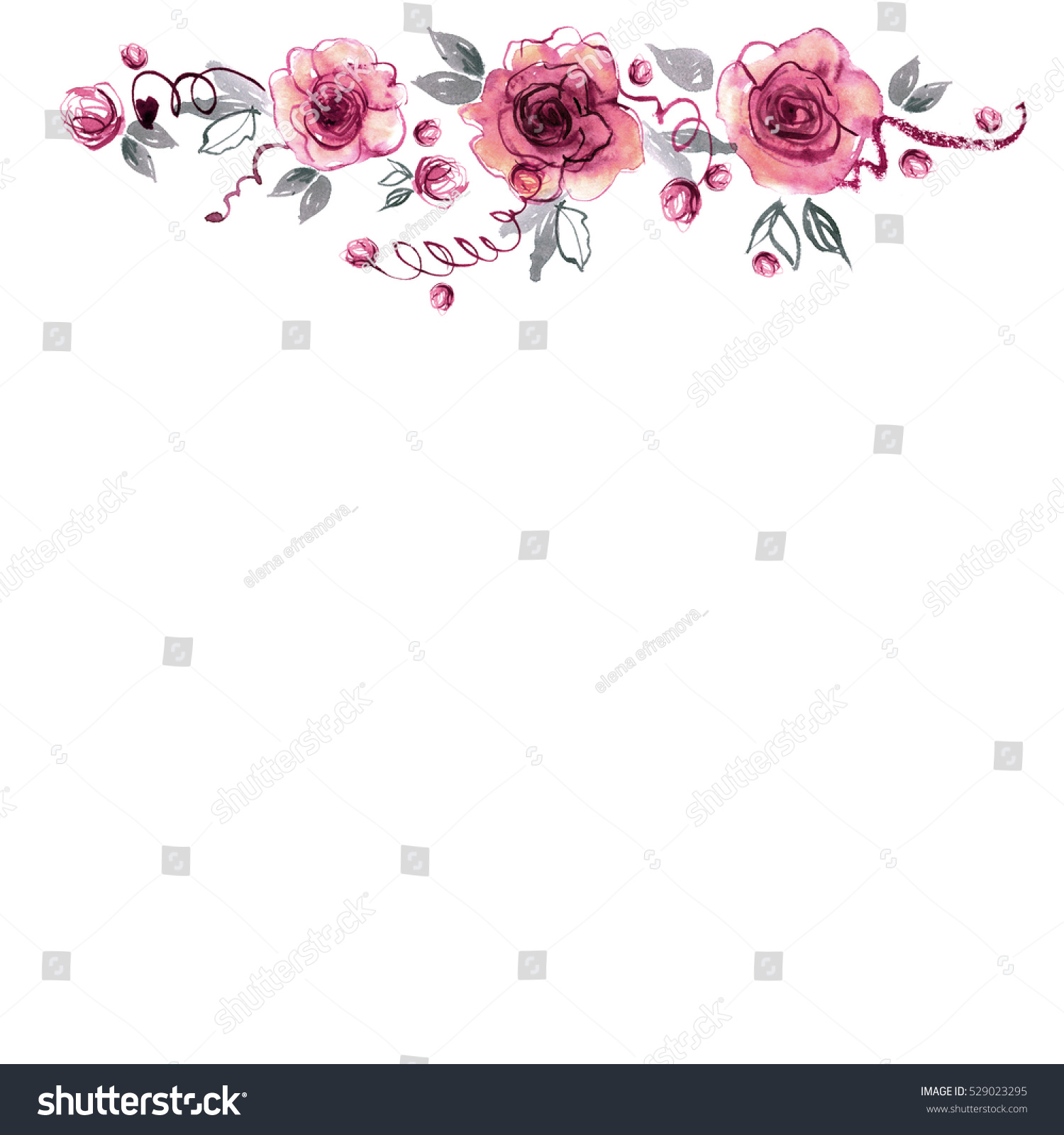 Cute Watercolor Hand Painted Flower Border Stock