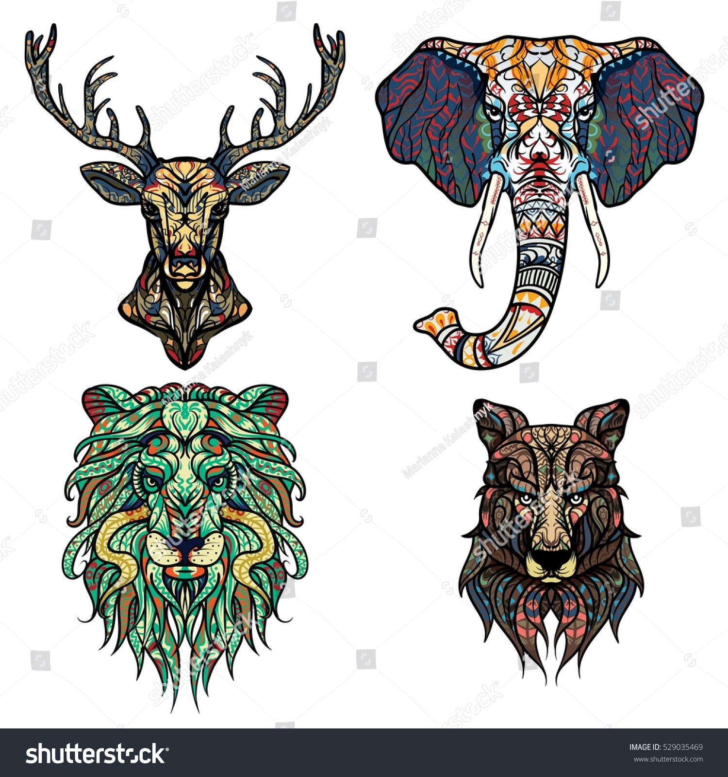 set abstract vector tattoo illustrations lion stock vector