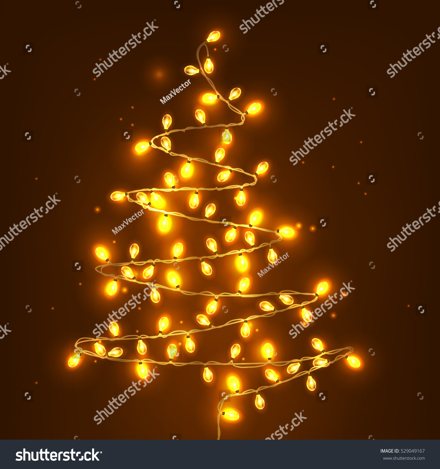 christmas tree made of lights realistic holiday illustration vector illustration - Christmas Tree Made Of Lights