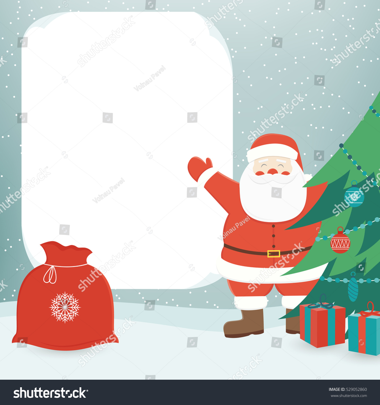 Christmas Card Santa Claus Template Copy Stock Vector (Royalty Free ...