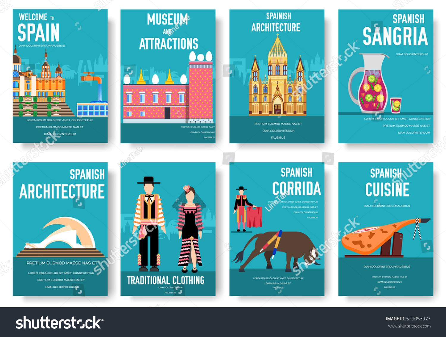 Spain vector brochure cards set country stock vector for Country brochure template
