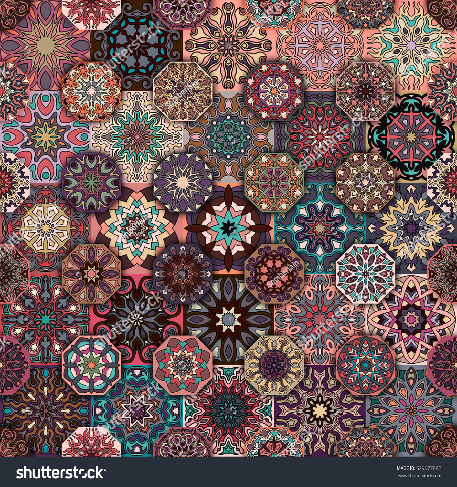 100 Seamless Mandala Pattern For Wrapping Colorful