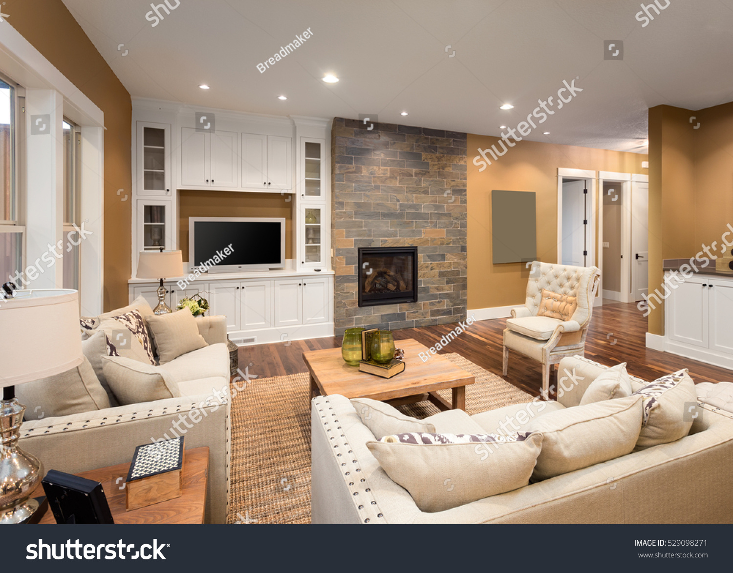 Beautiful Furnished Living Room Fireplace Television Stock Photo ...