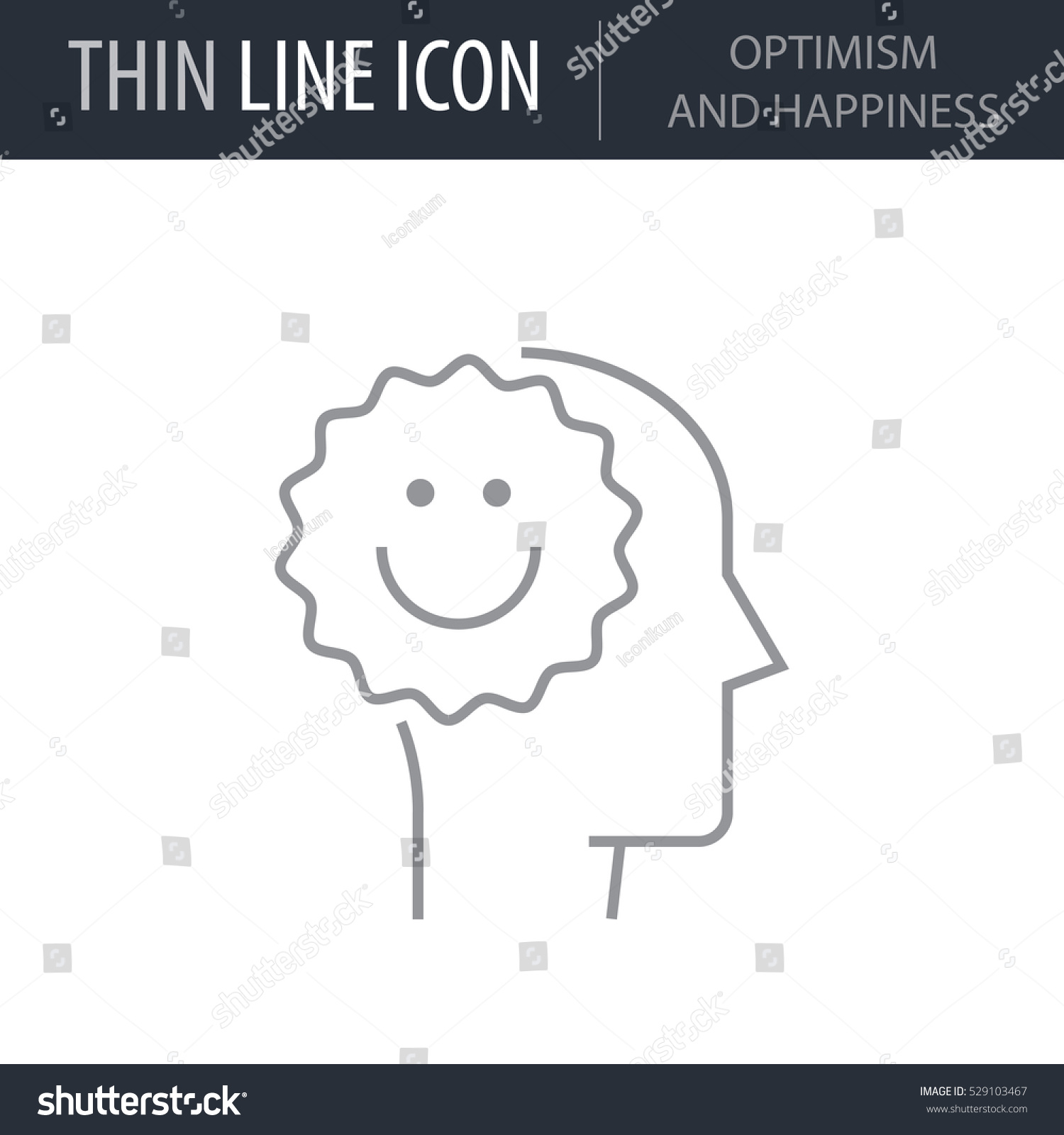 Symbol Optimism Happiness Thin Line Icon Stock Vector Royalty Free