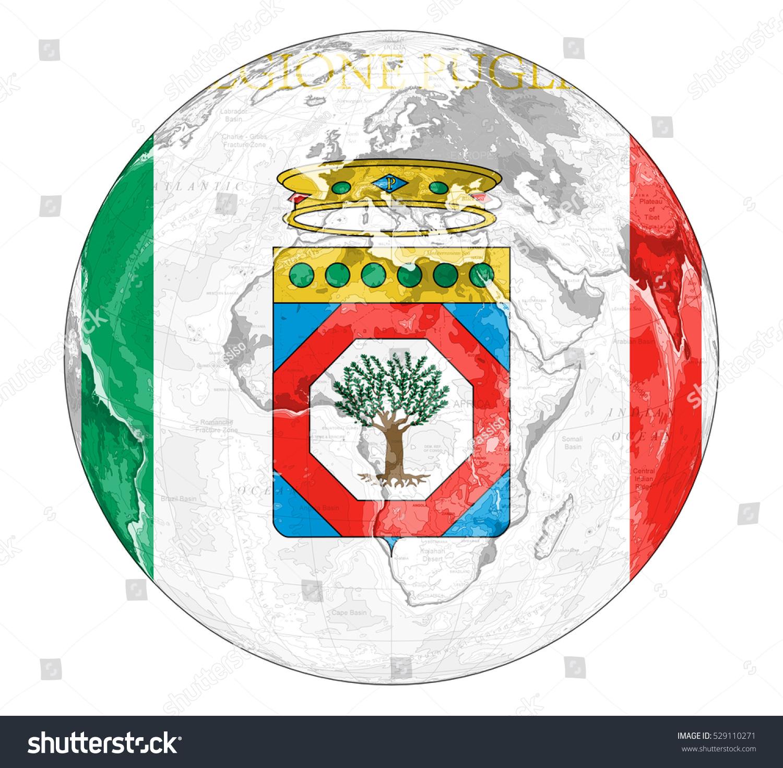 Map Of Italy Puglia Region.Royalty Free Stock Illustration Of World Map Depiction Flag Puglia