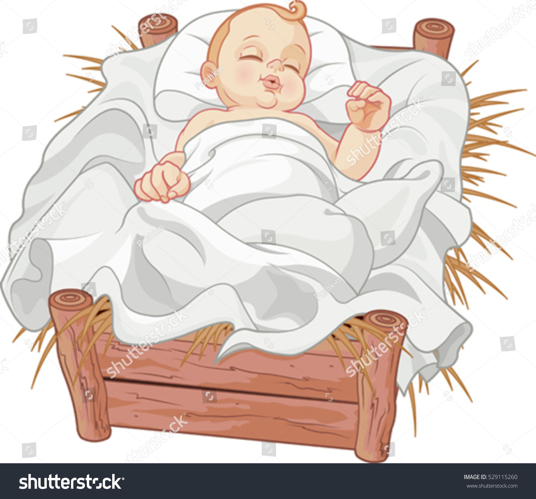 Baby jesus asleep in a christmas nativity crib stock vector
