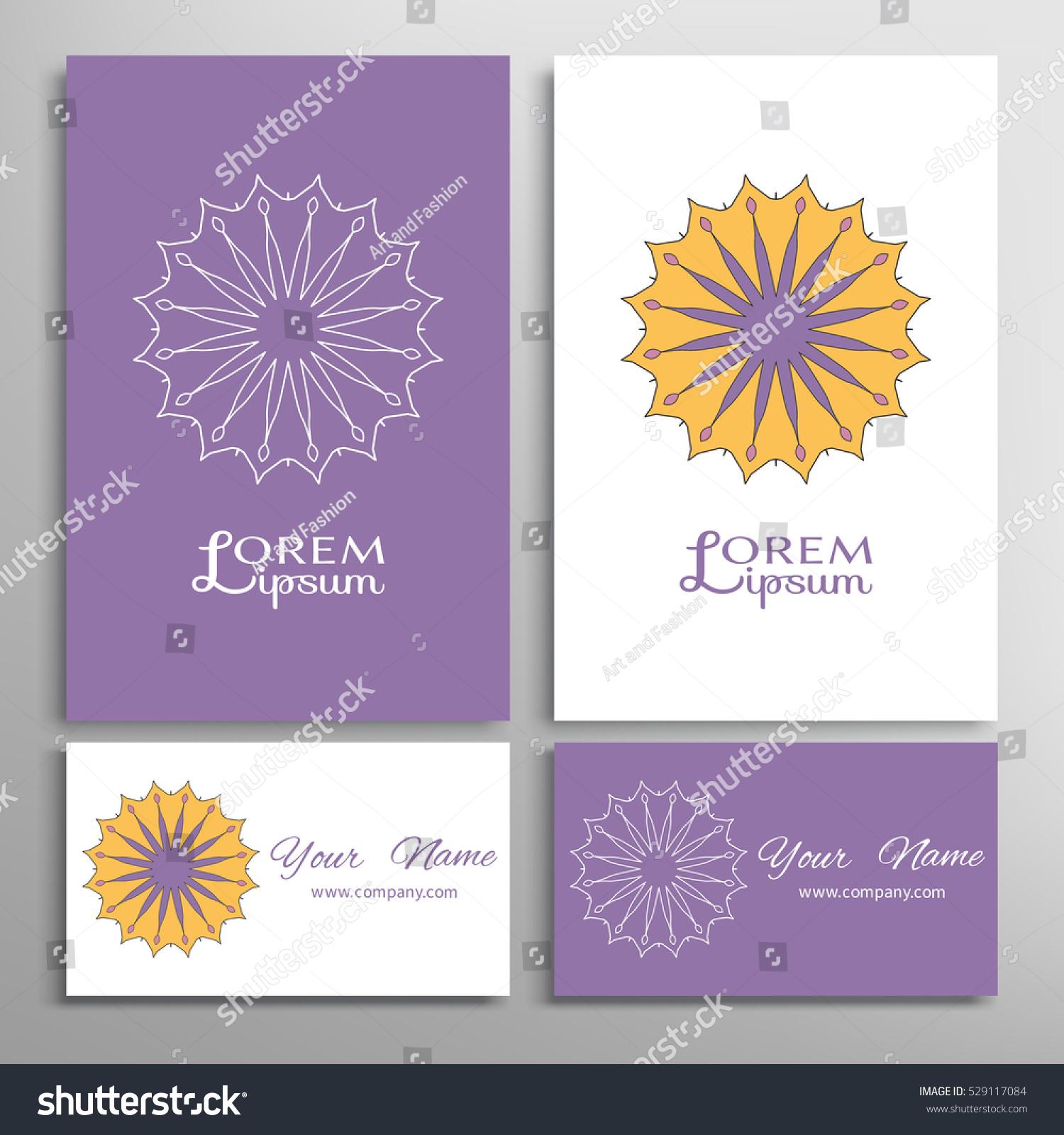 Mandala Round Ornaments Business Cards Set Stock Vector 529117084 ...