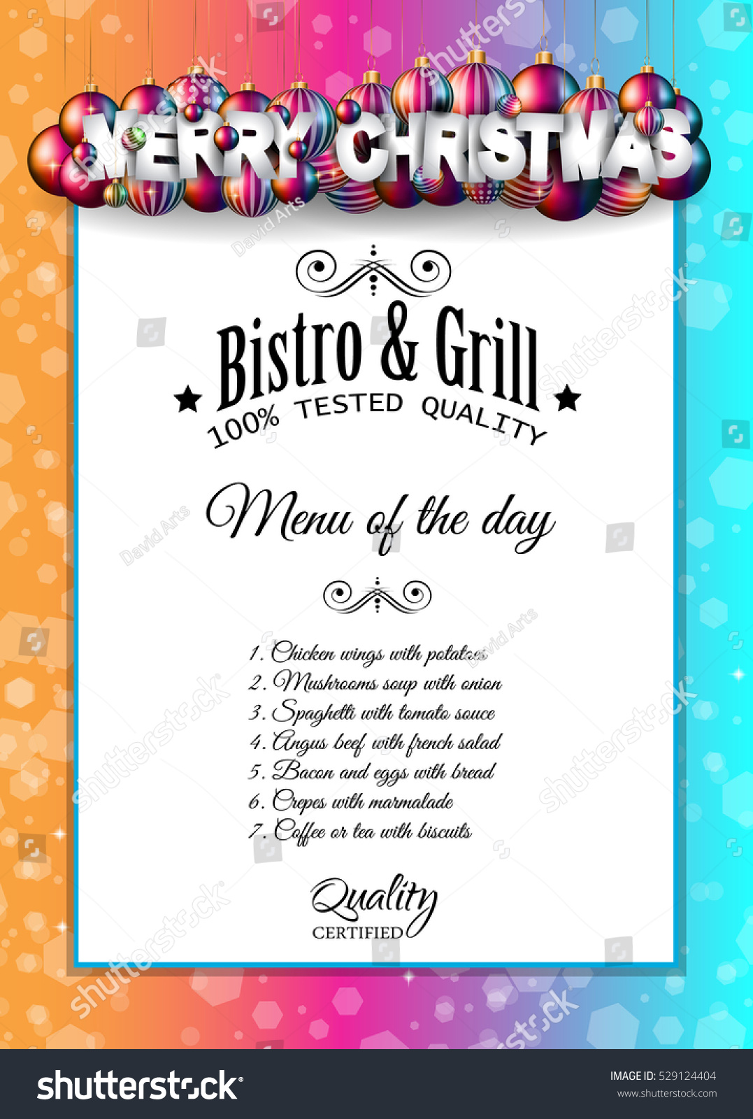 Christmas Dinner Lunch Restaurant Menu Template Stock Vector