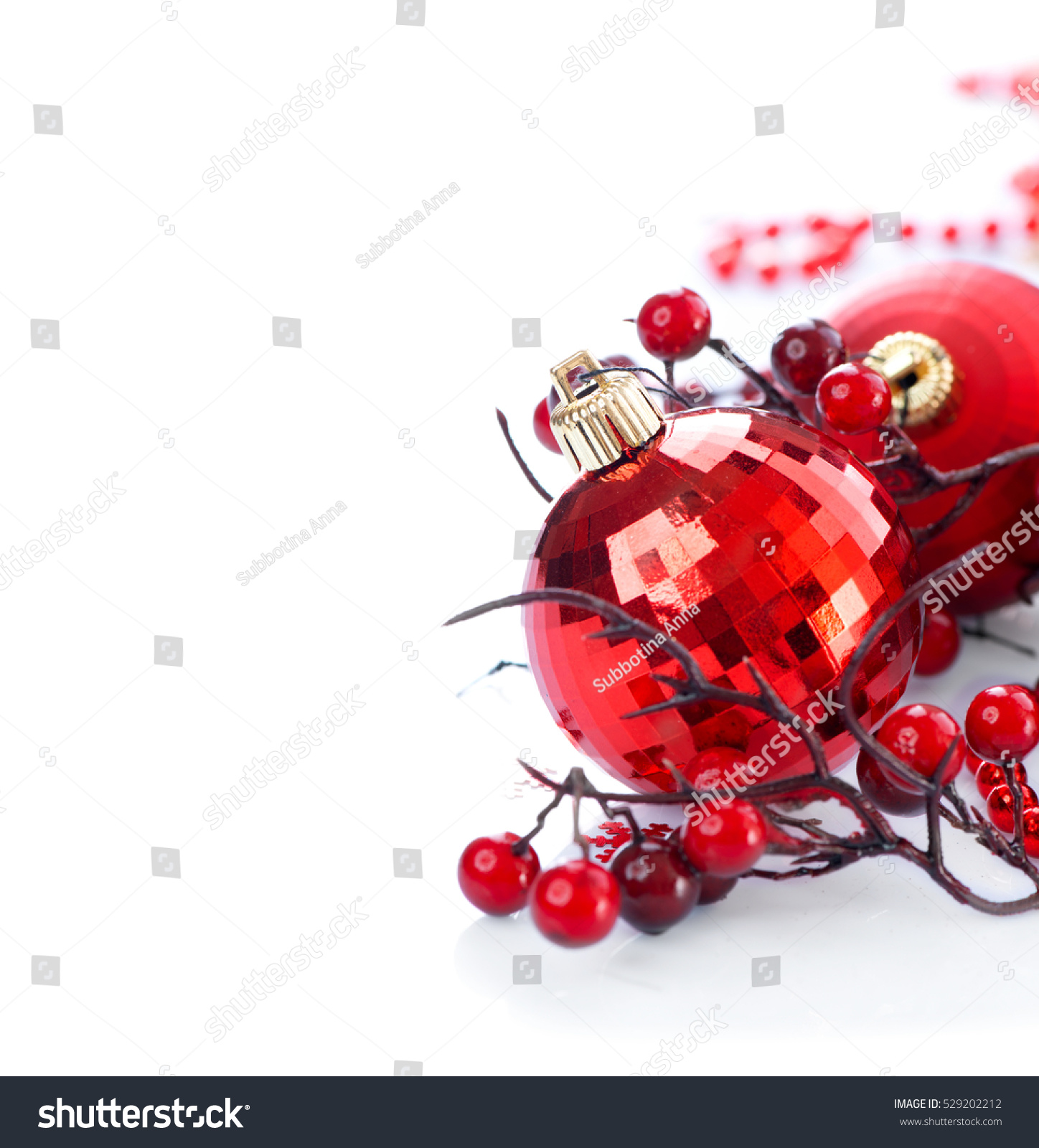 Red Christmas and New Year Decoration isolated on white background Border art design with holiday baubles Decorated with ball holly berry Space for your text