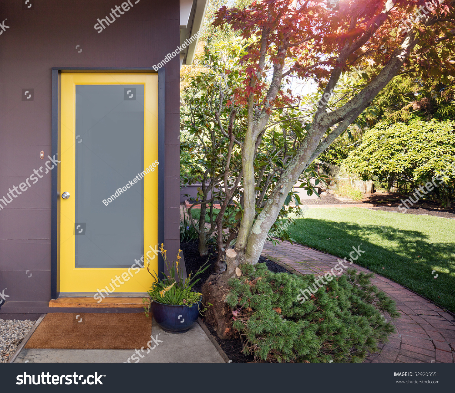 Yellow Framed Frosted Glass Door Entry Stock Photo Edit Now 529205551