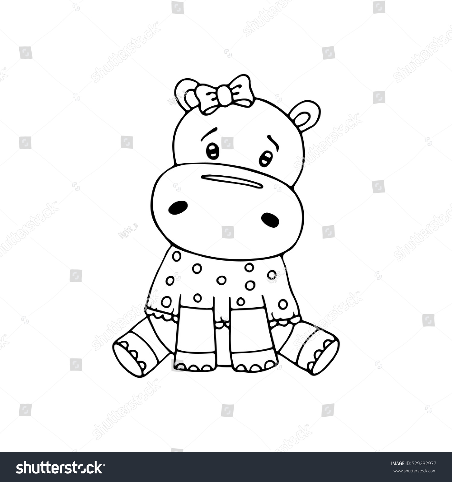 outlined cute hippopotamus coloring page kids stock vector