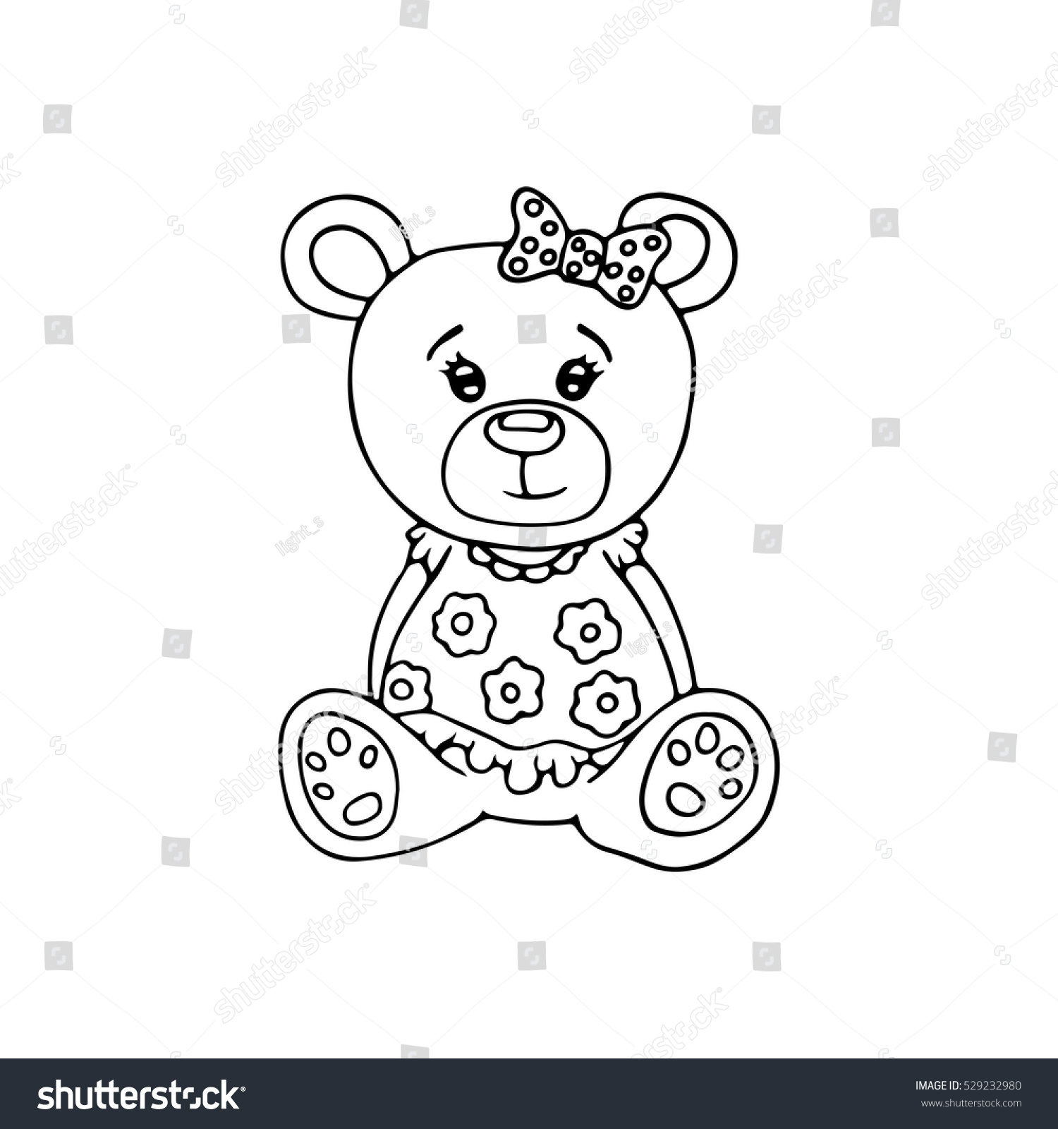 Outlined Cute Teddy Bear Coloring Page Stock Vector