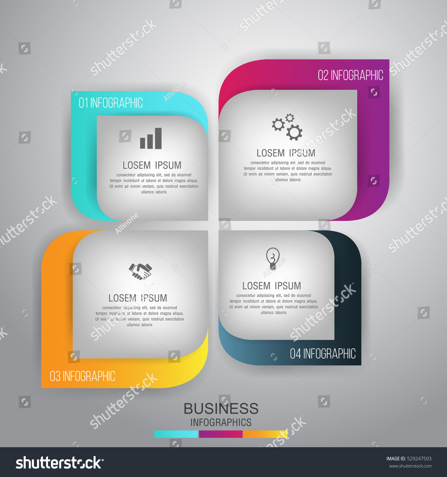 Business Concept 4 Steps Template Infographic Stock Vector 529247503 ...