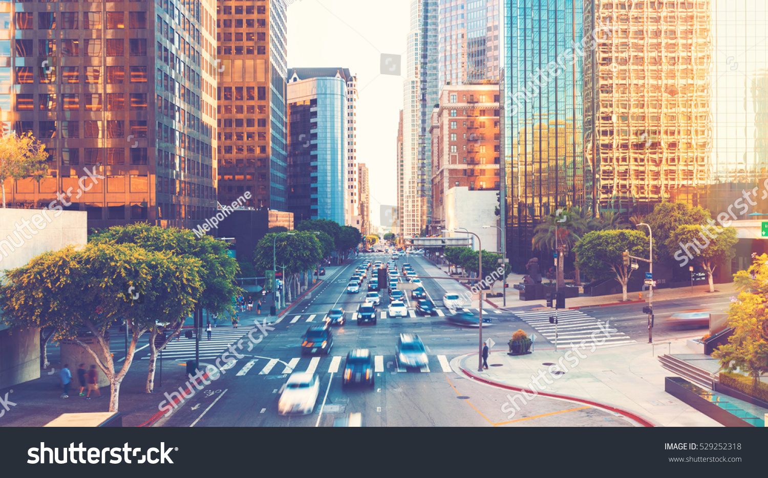 View of Los Angeles rush hour traffic in Downtown LA #529252318