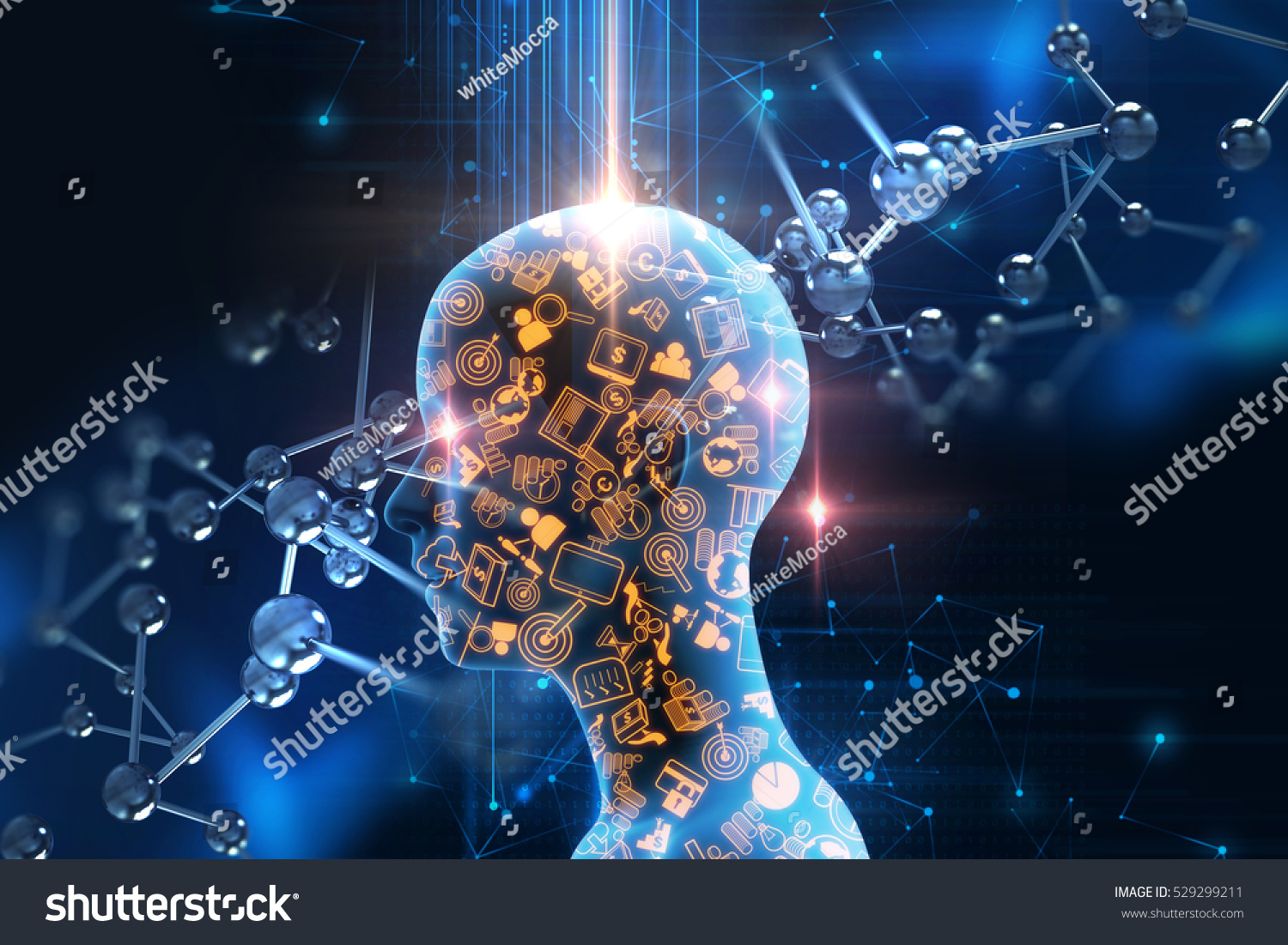 virtual human 3dillustration on business and learning technology  background represent learning process.