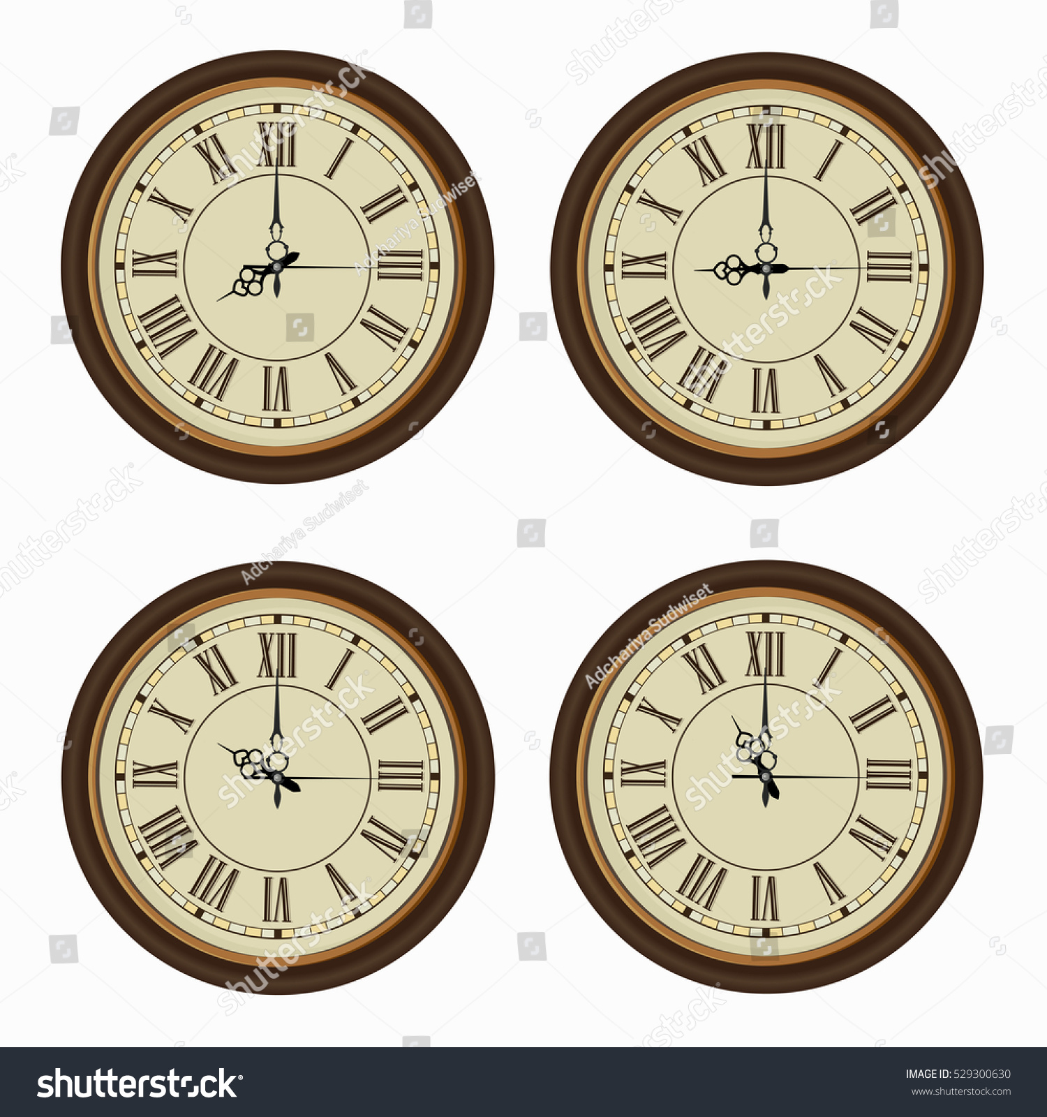 Set Realistic Wall Clocks Old Clock Stock Vector (Royalty