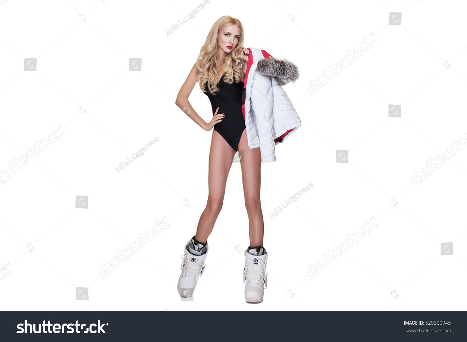 c9e338ebfd Girl in a bathing suit snowboard boots… Stock Photo 529300945 ...