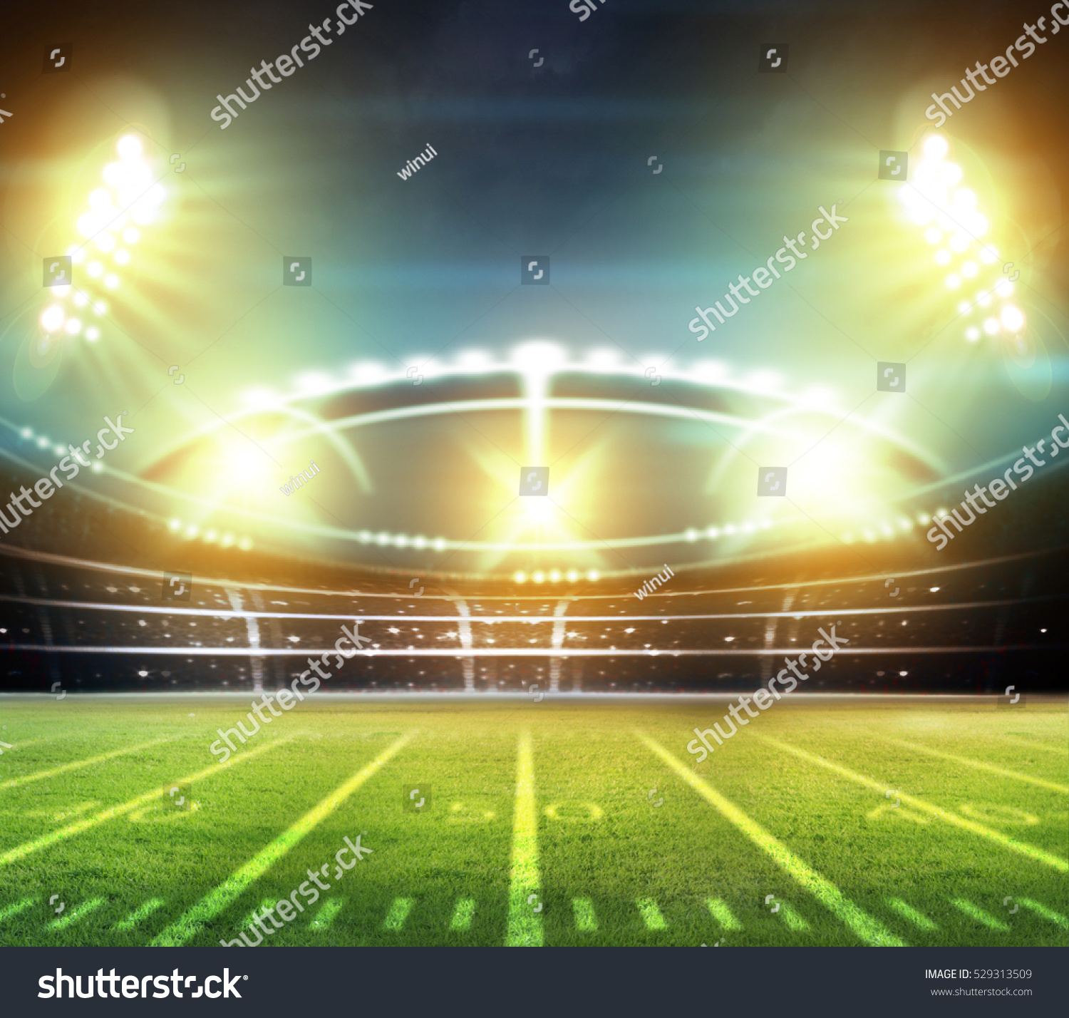 Football Stadium Night Lights: Stadium Lights At Night And Stadium 3d Stock Photo