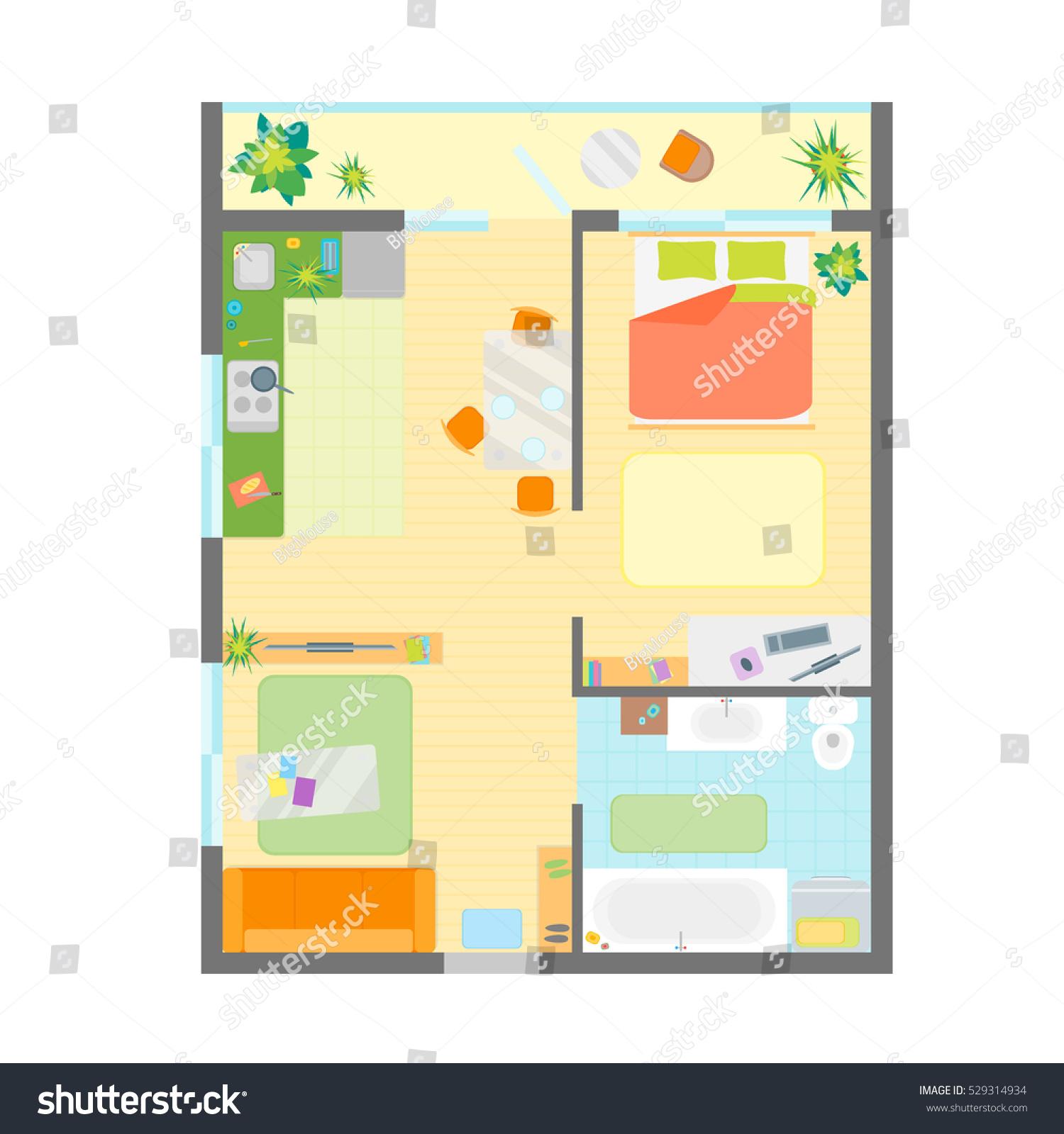 apartment floor plan furniture top view stock vector 529314934 apartment floor plan with furniture top view vector