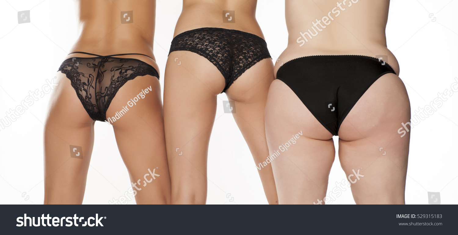 womans buts three women different weights stock photo (royalty free