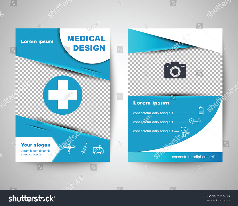 blue medical flyer layout template brochure のベクター画像素材