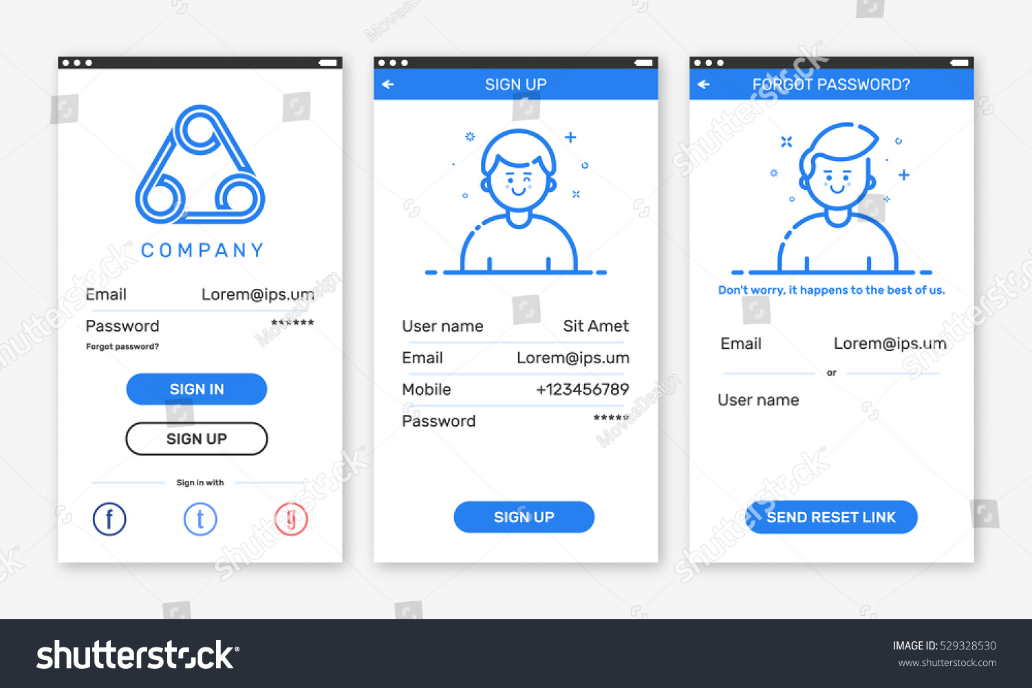 Vector illustration onboarding app screens mobile stock for Mobile app privacy policy template