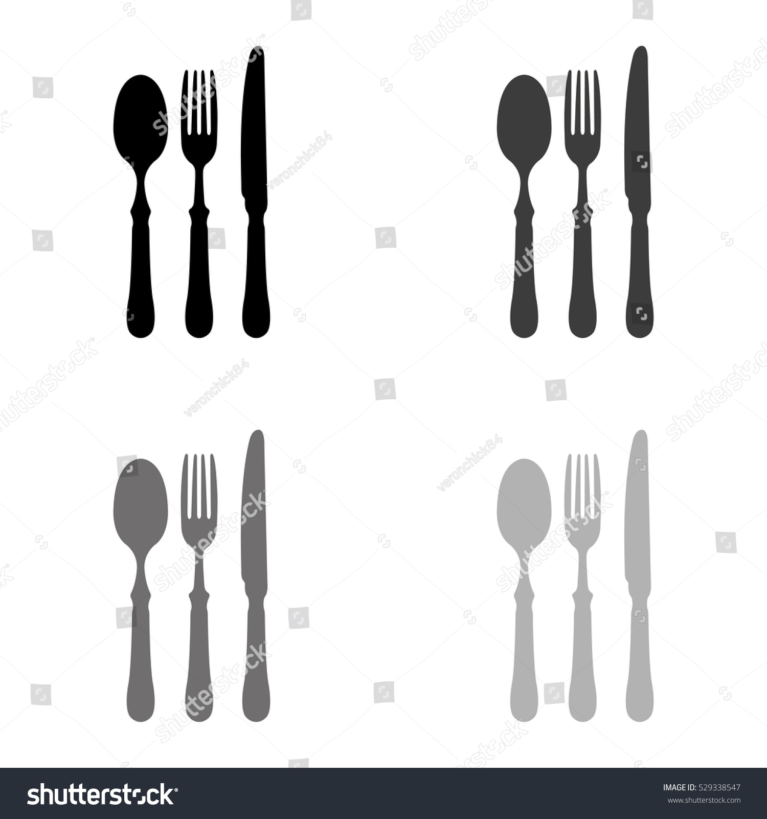 fork spoon knife black vector icon stock vector 529338547