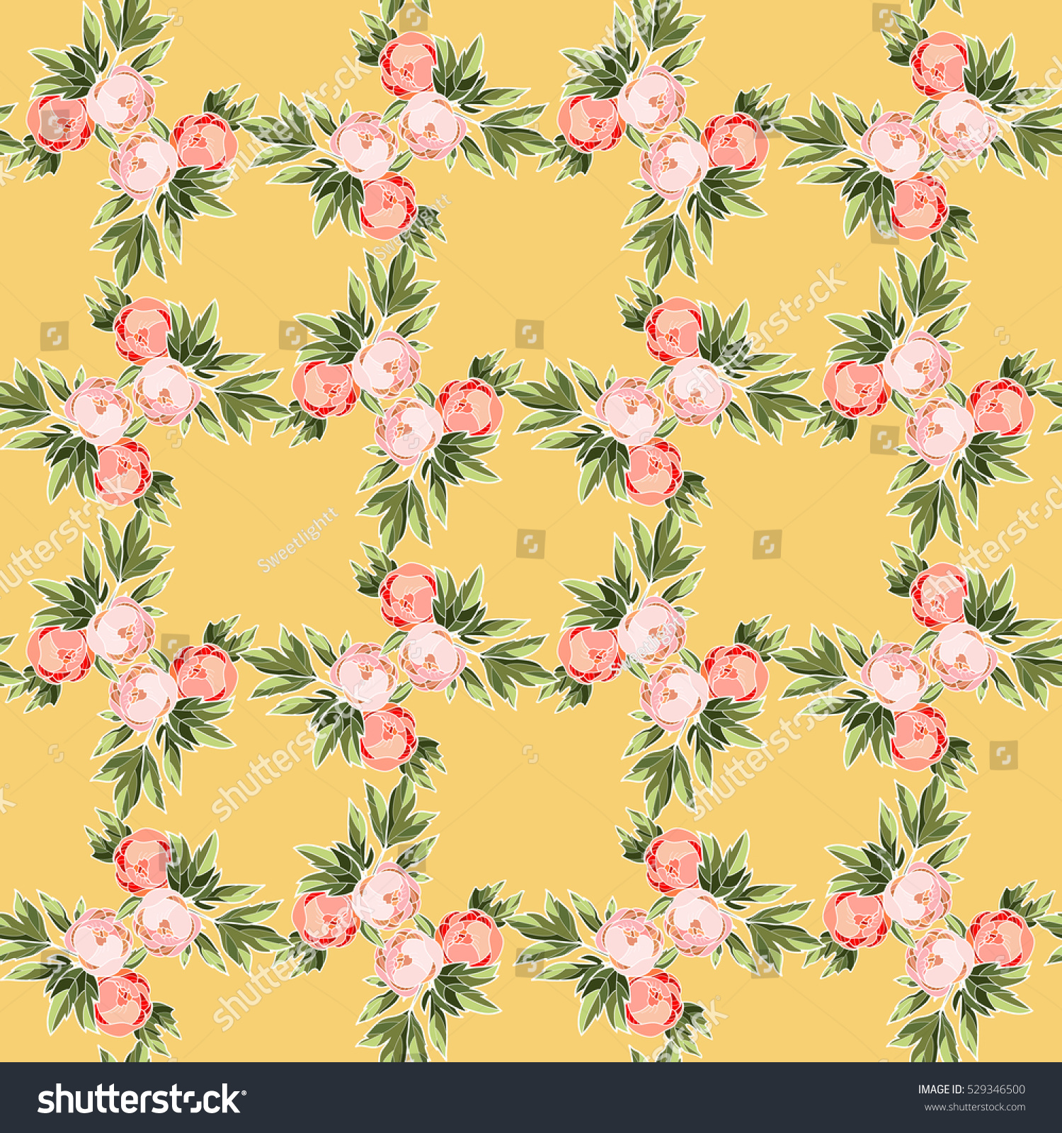 Peony bouquets on a golden background. Peony seamless pattern ...